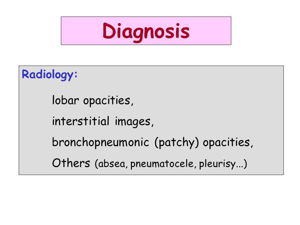 Diagnosis Radiology: lobar opacities, interstitial images,