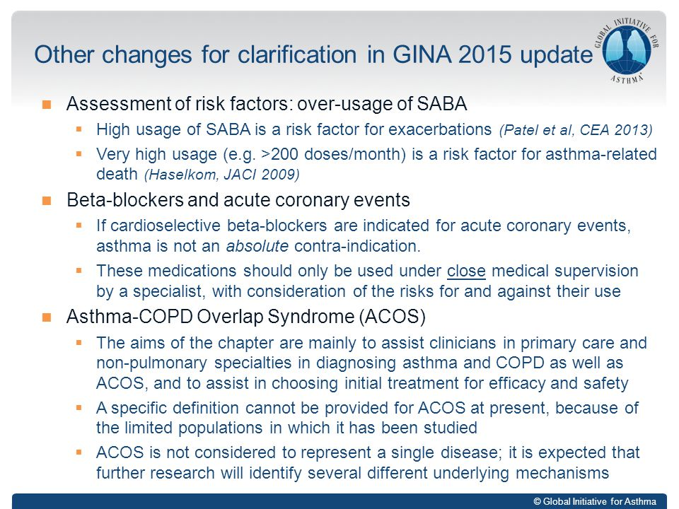 Other changes for clarification in GINA 2015 update