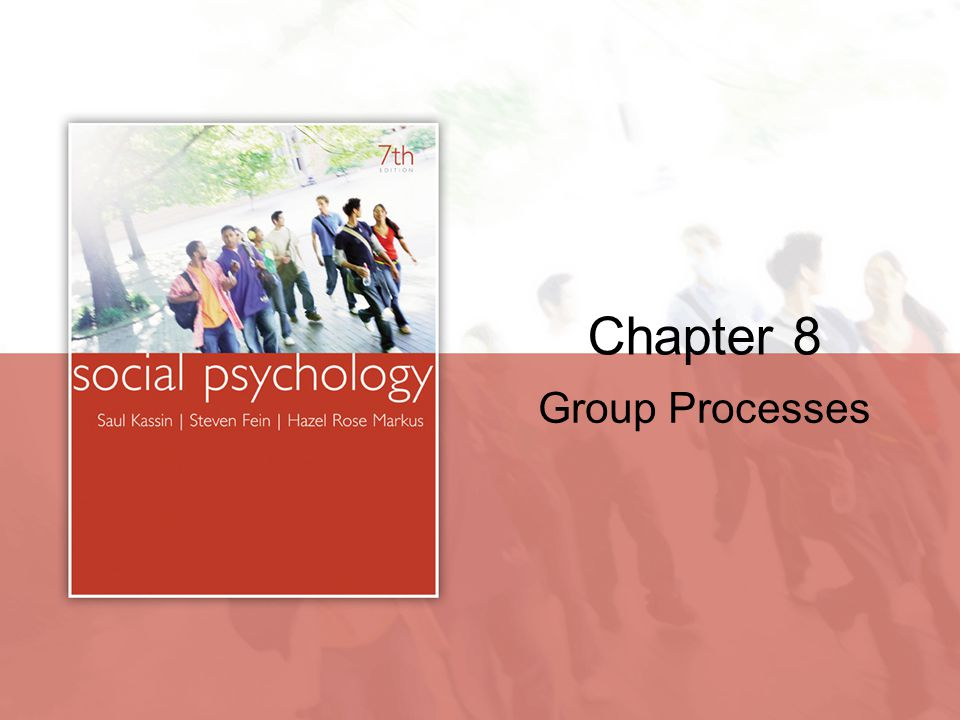 chapter 8 group processes Chapter 8: group processes group two or more persons perceived as related because of their interactions (direct and over a period of time), membership in the same social category (ex based on sex, race, etc), or common fate, identity, or set of goals the social brain hypothesis.