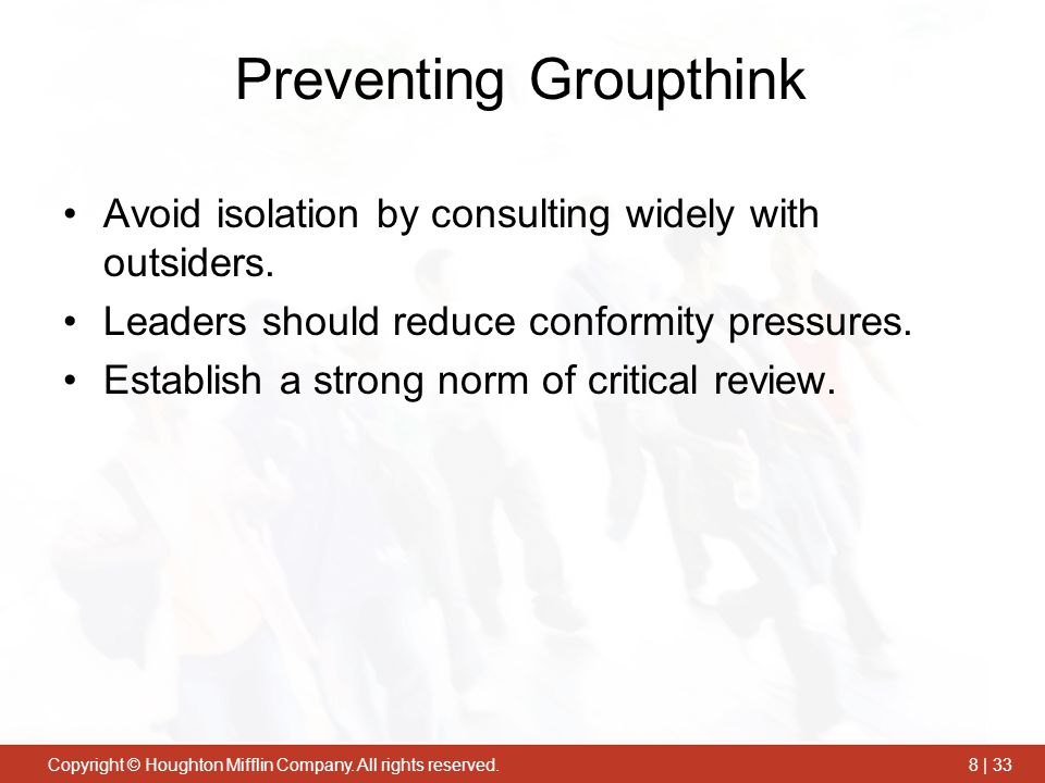 """avoiding group think Groupthink is a tricky concept irving janis, a social psychologist credited as the first to develop the idea, defined it as a """"psychological phenomenon in which people strive for consensus within a group"""" at first janis' take on groupthink doesn't seem so bad after all, isn't the point ."""