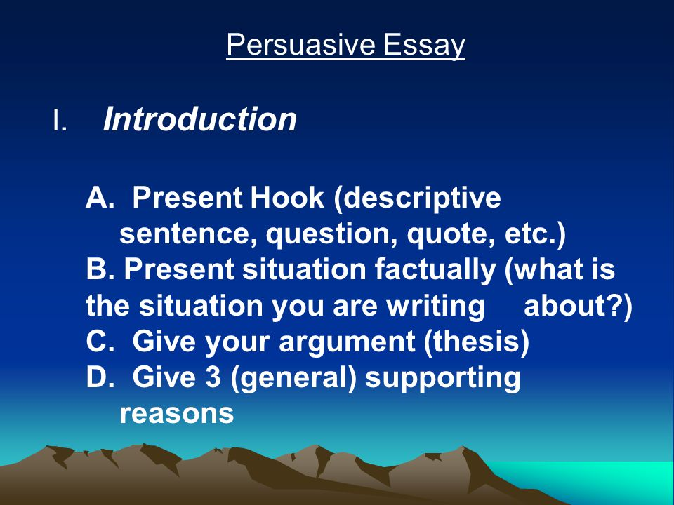 good introduction to persuasive essay Good introduction for persuasive essay how to pass high school without doing homework stalking my friends' social media pages is a lot more entertaining than the.