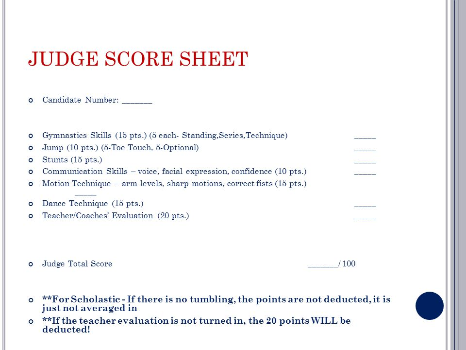 Cheerleading Tryout Score Sheet Judge Score Sheet Candidate Number