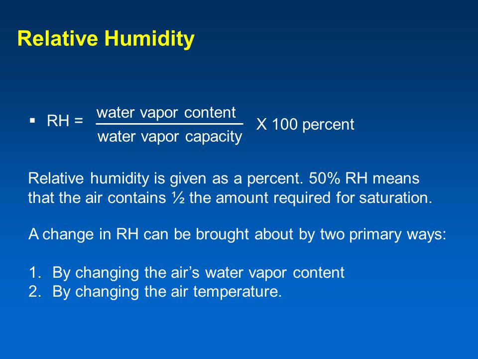 Relative Humidity RH = water vapor content X 100 percent