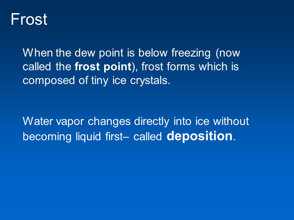 Frost When the dew point is below freezing (now called the frost point), frost forms which is composed of tiny ice crystals.