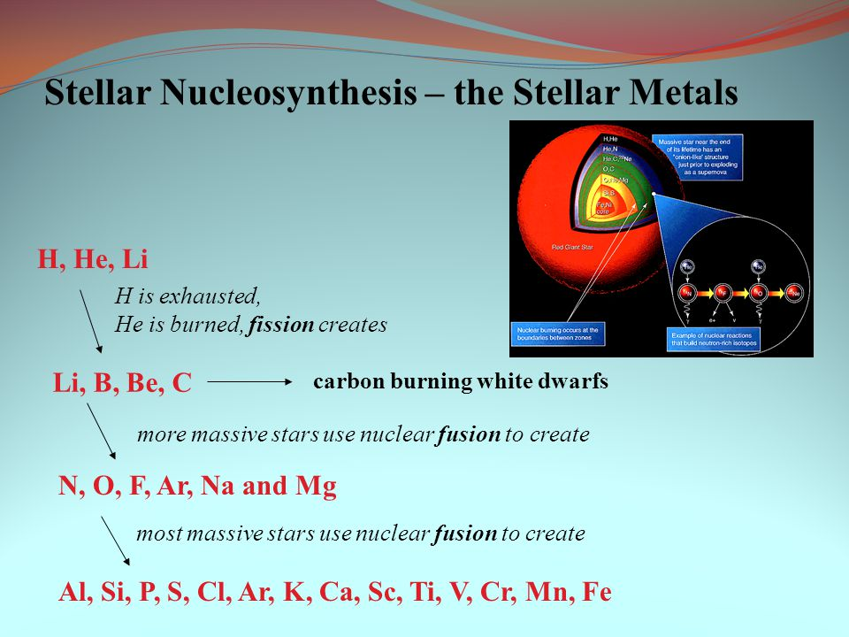 stellar nucleosynthesis only Stellar nucleosynthesis  the silicon fusion processes come at the end of a very  massive star's lifetime and last for only a couple of weeks.