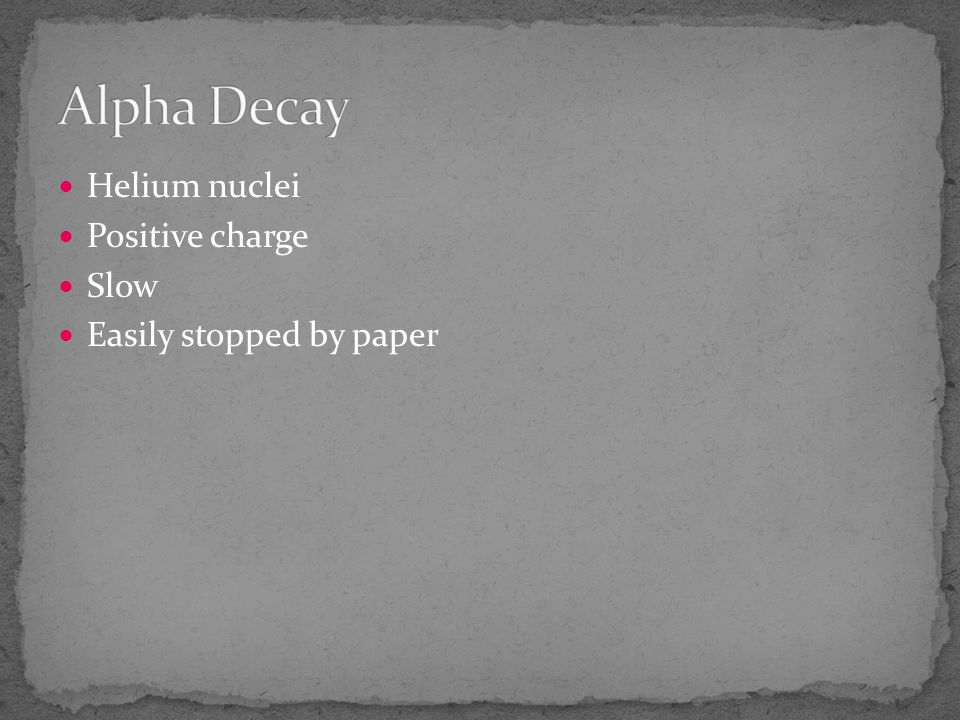 Alpha Decay Helium nuclei Positive charge Slow Easily stopped by paper