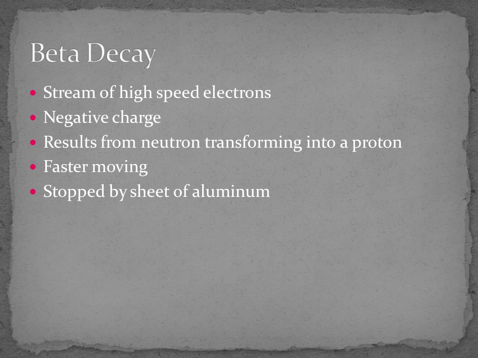 Beta Decay Stream of high speed electrons Negative charge