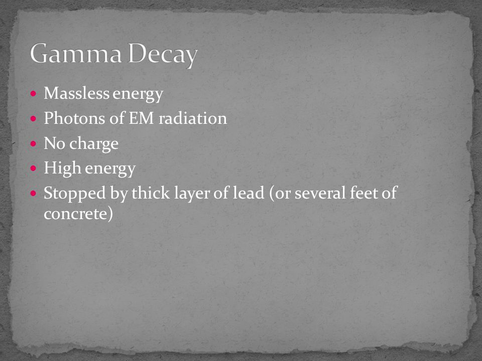 Gamma Decay Massless energy Photons of EM radiation No charge