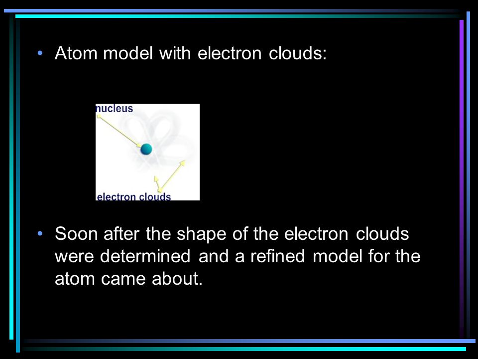 Atom model with electron clouds: