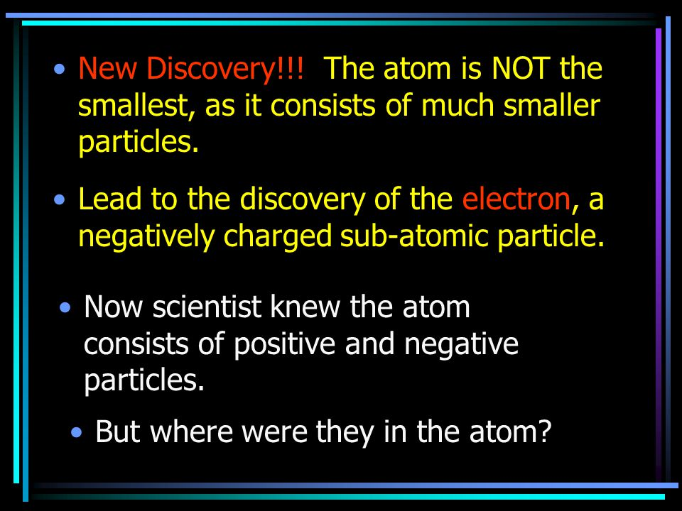 New Discovery!!! The atom is NOT the smallest, as it consists of much smaller particles.