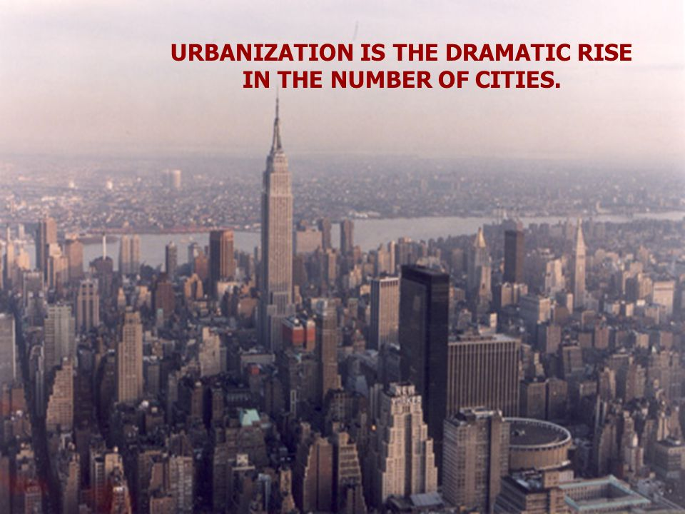 URBANIZATION IS THE DRAMATIC RISE