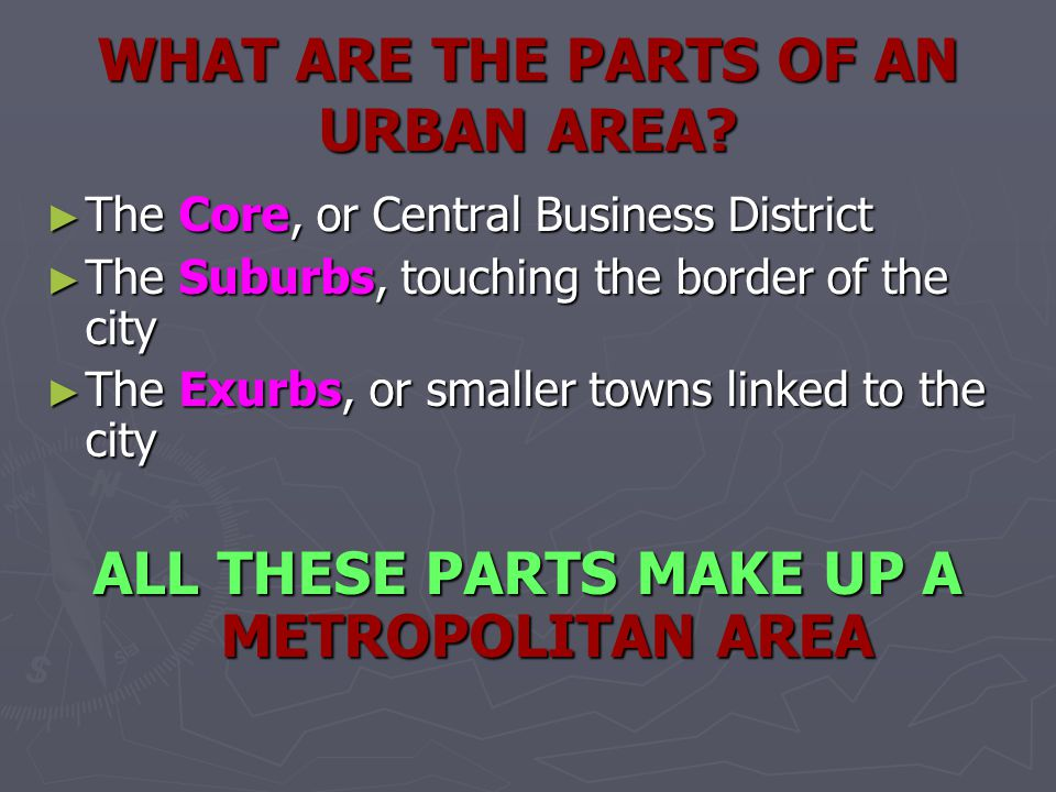 WHAT ARE THE PARTS OF AN URBAN AREA
