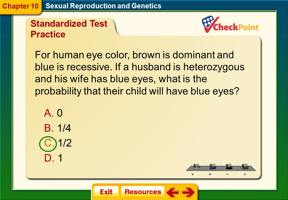 1/4 1/2 1 For human eye color, brown is dominant and
