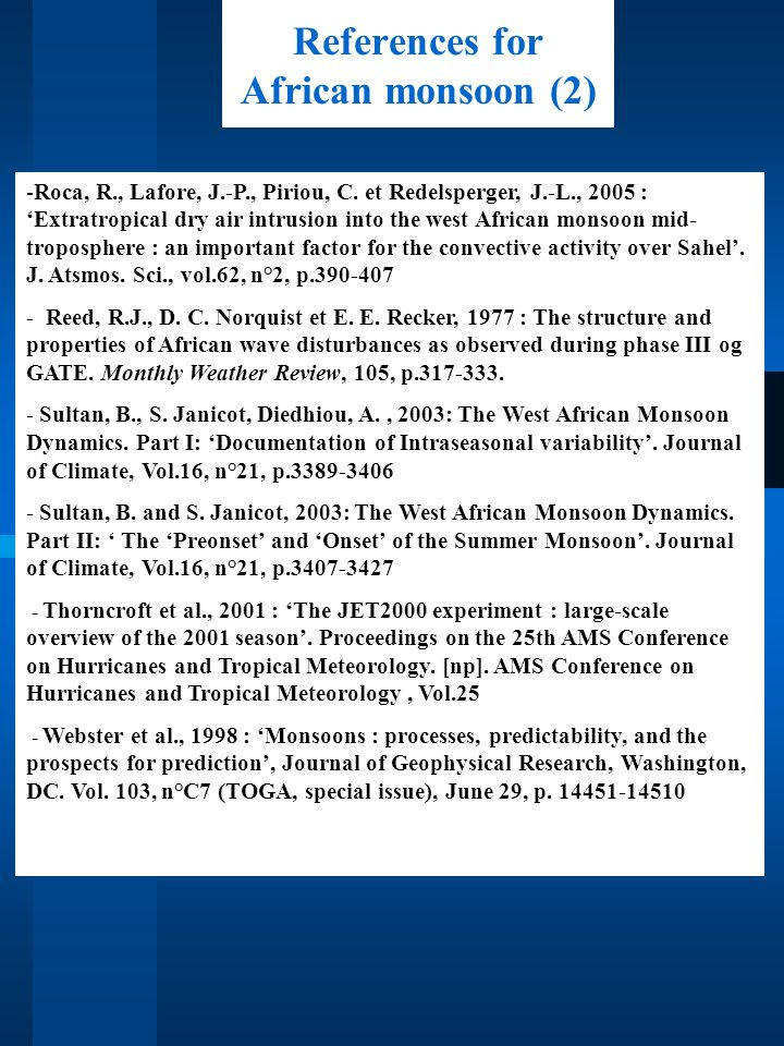 References for African monsoon (2)