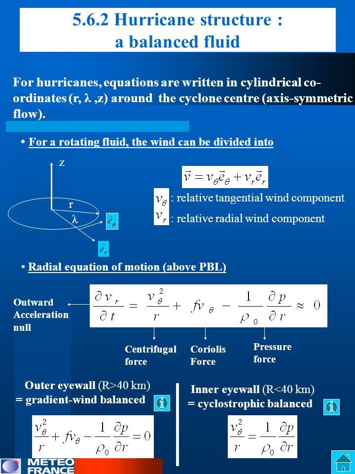 5.6.2 Hurricane structure : a balanced fluid