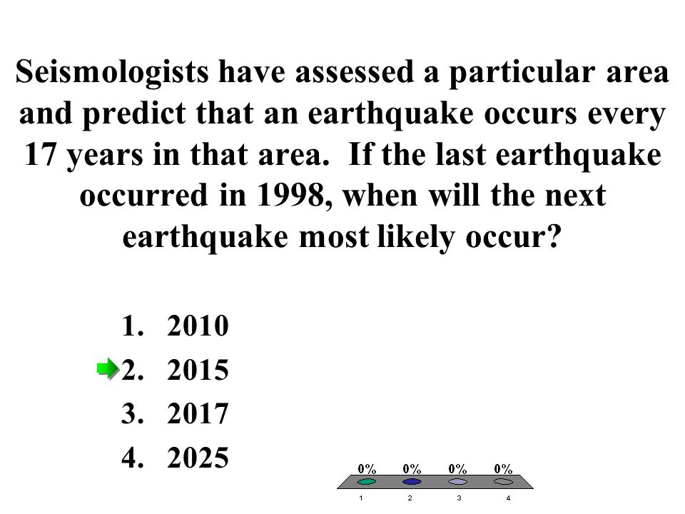 Seismologists have assessed a particular area and predict that an earthquake occurs every 17 years in that area. If the last earthquake occurred in 1998, when will the next earthquake most likely occur