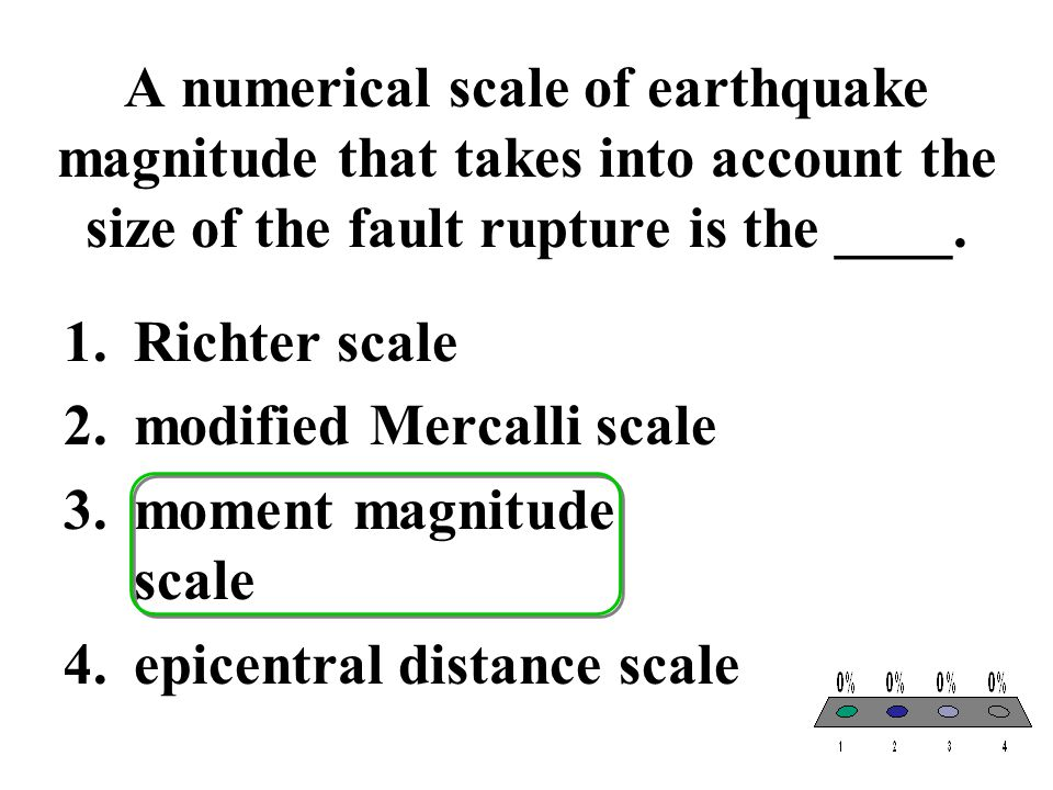 A numerical scale of earthquake magnitude that takes into account the size of the fault rupture is the ____.