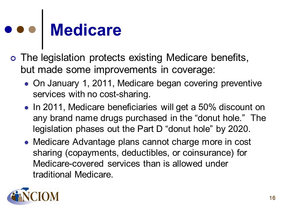 MedicareThe legislation protects existing Medicare benefits, but made some improvements in coverage: