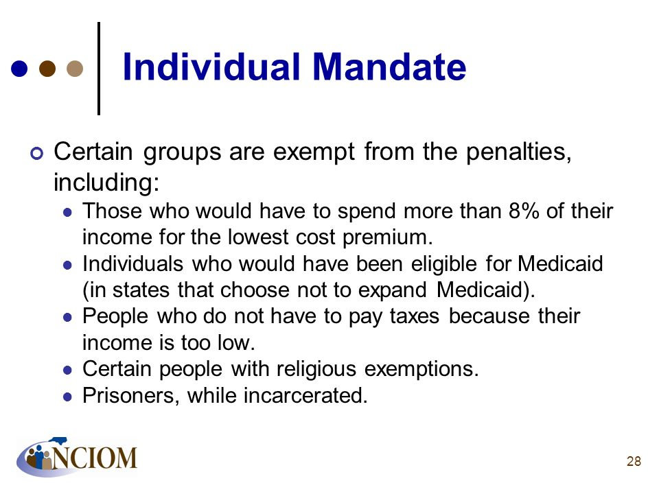 Individual Mandate Certain groups are exempt from the penalties, including: