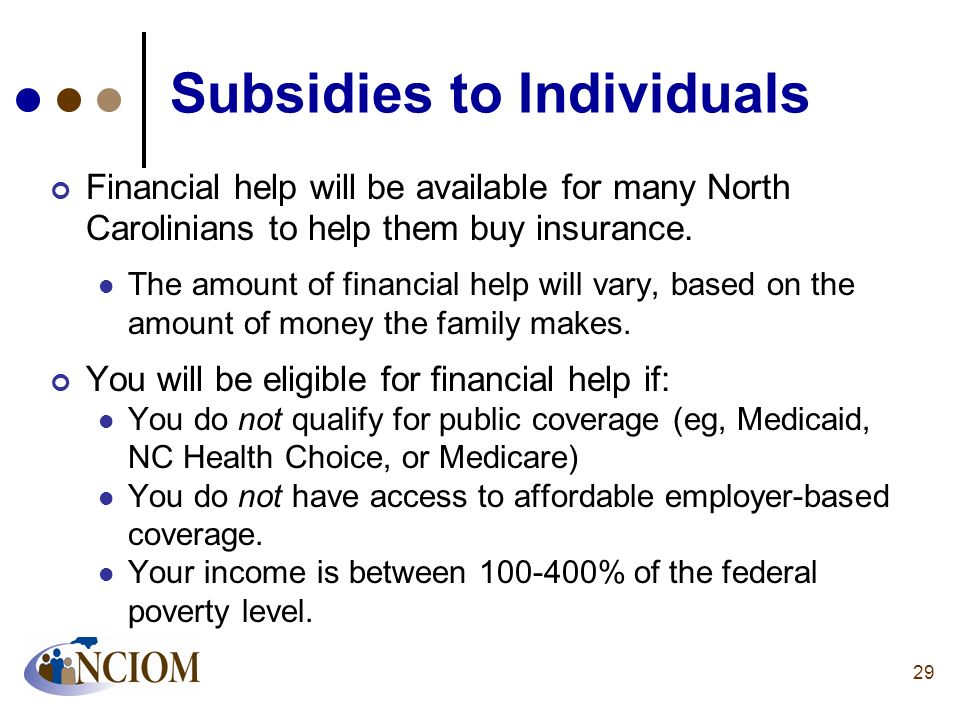 Subsidies to Individuals