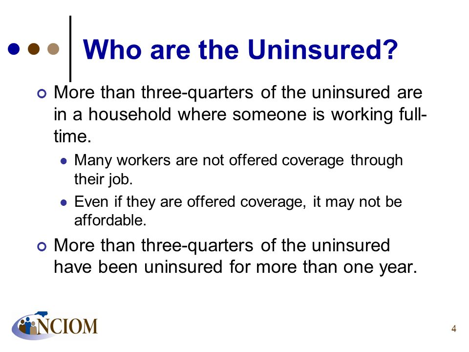 Who are the Uninsured More than three-quarters of the uninsured are in a household where someone is working full-time.