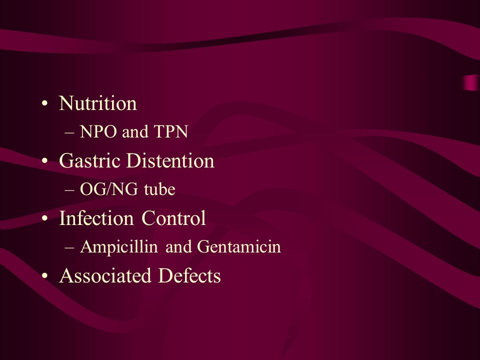 Nutrition Gastric Distention Infection Control Associated Defects