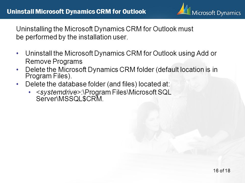 Uninstall Microsoft Dynamics CRM for Outlook