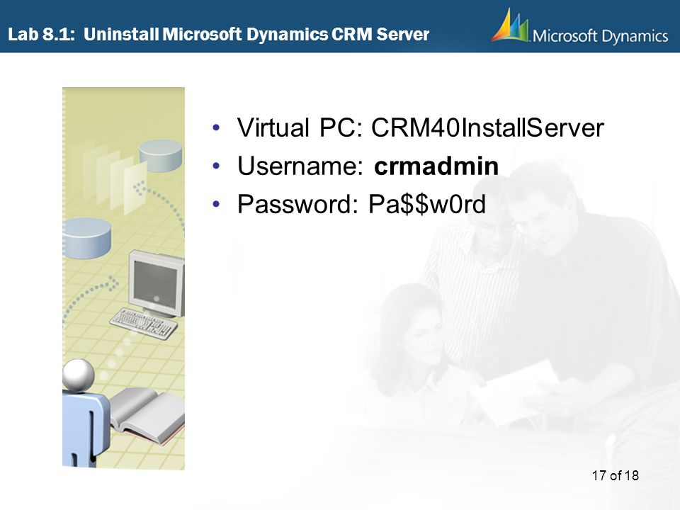 Lab 8.1: Uninstall Microsoft Dynamics CRM Server