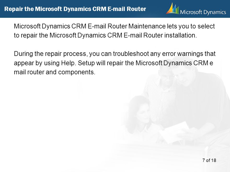 Repair the Microsoft Dynamics CRM  Router