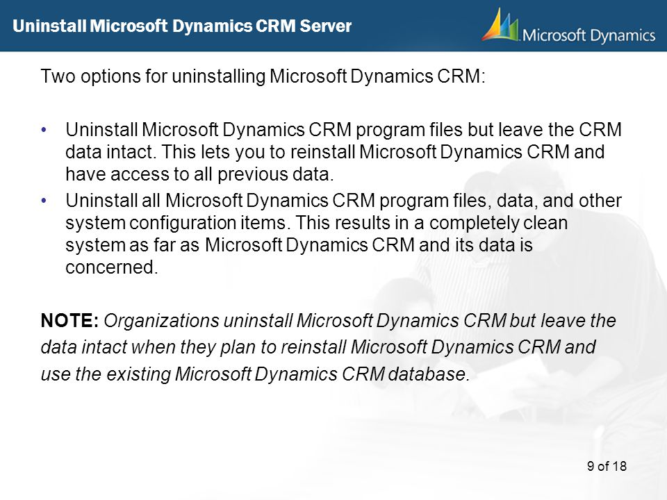 Uninstall Microsoft Dynamics CRM Server