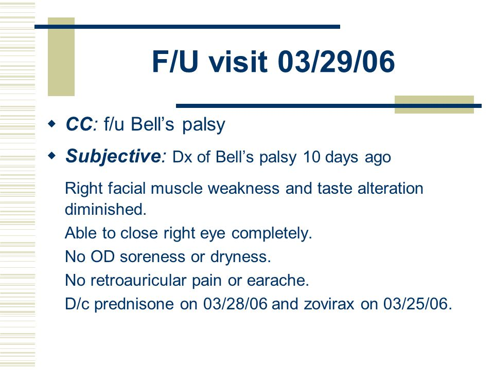 Bells palsy prednisone