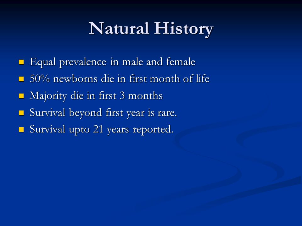 Natural History Equal prevalence in male and female
