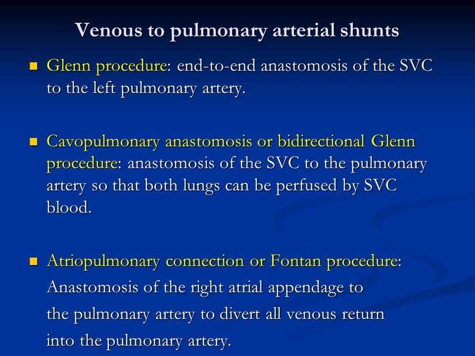 Venous to pulmonary arterial shunts