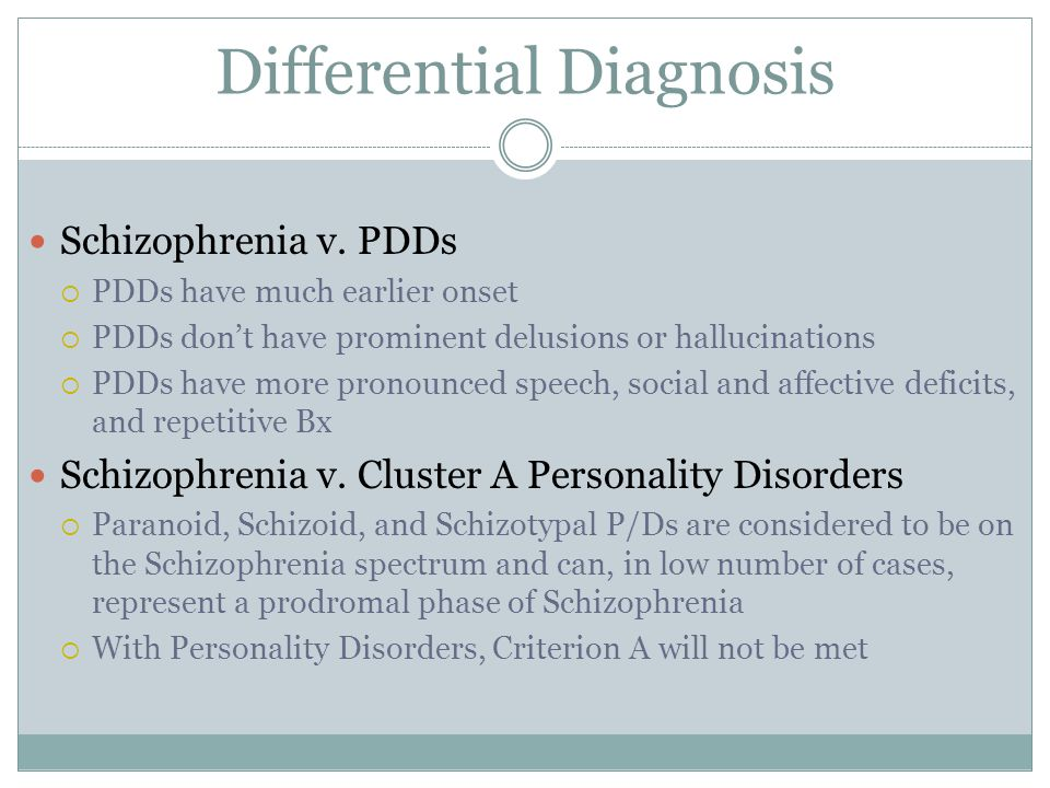 schizophrenia differential diagnosis Schizophrenia was first described by  differential diagnosis  a licensed medical practitioner should be consulted for diagnosis and treatment of any.