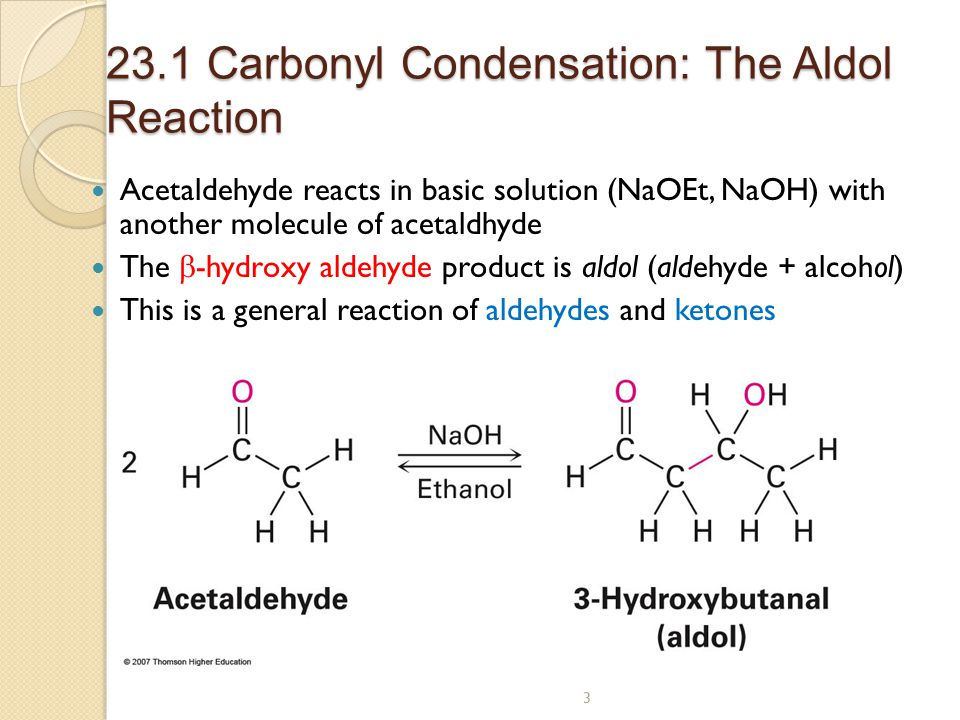 aldol reaction 224 aldol addition and aldol condensation 1065 in this aldol addition reaction of acetone, the equilibrium favors the ketone reactant rather than.