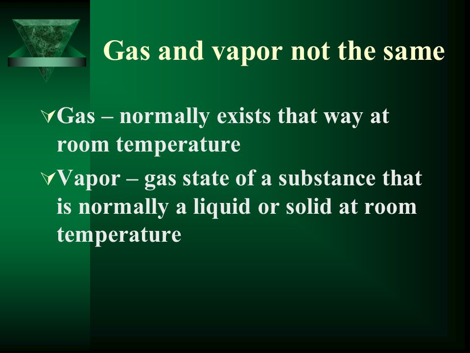 Gas and vapor not the same