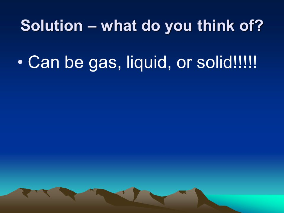 Solution – what do you think of