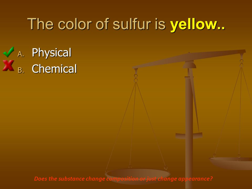 The color of sulfur is yellow..