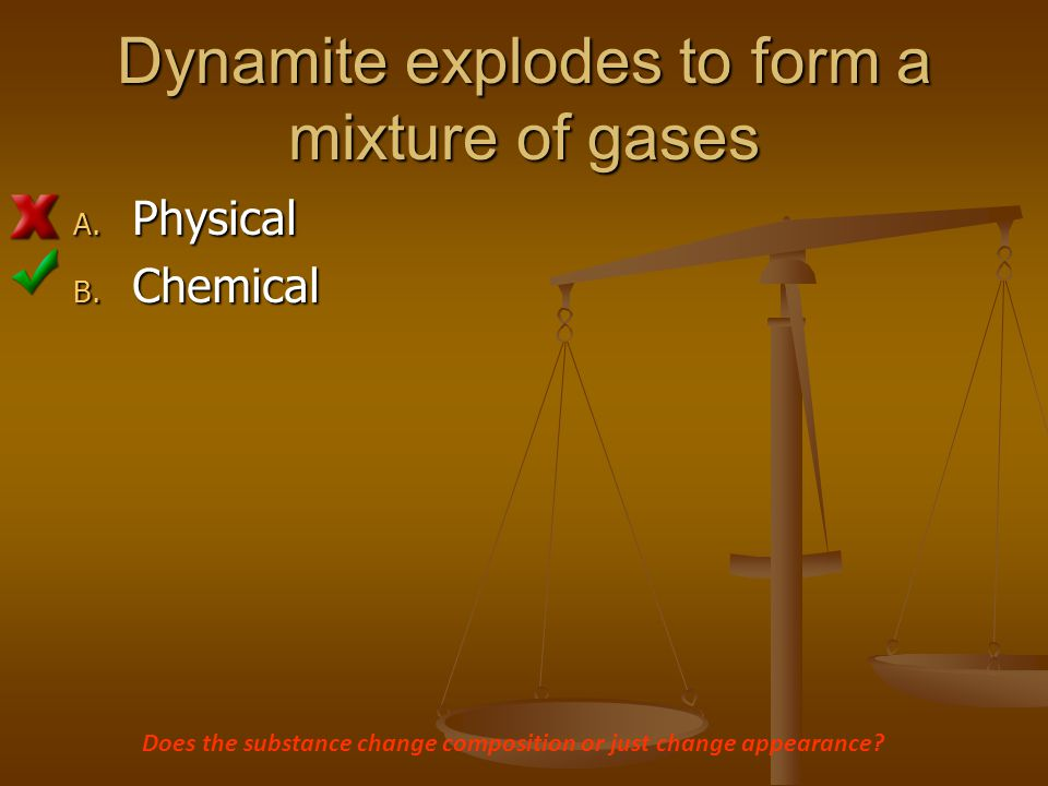 Dynamite explodes to form a mixture of gases