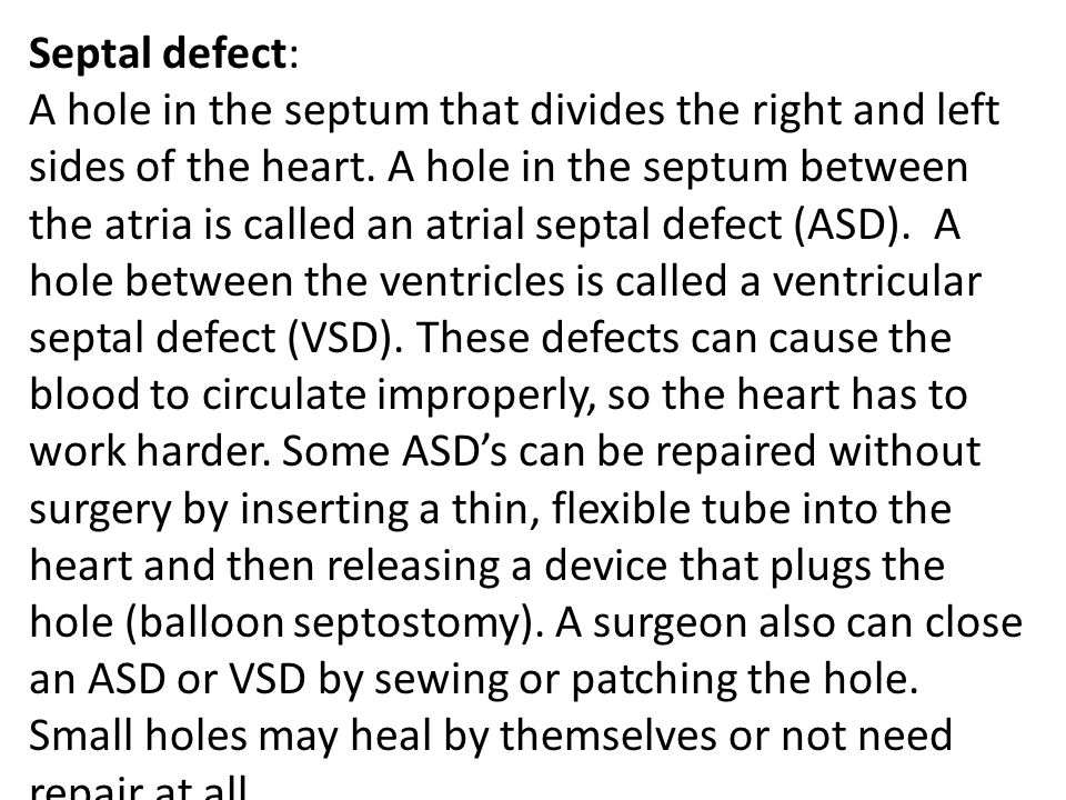 Septal defect:
