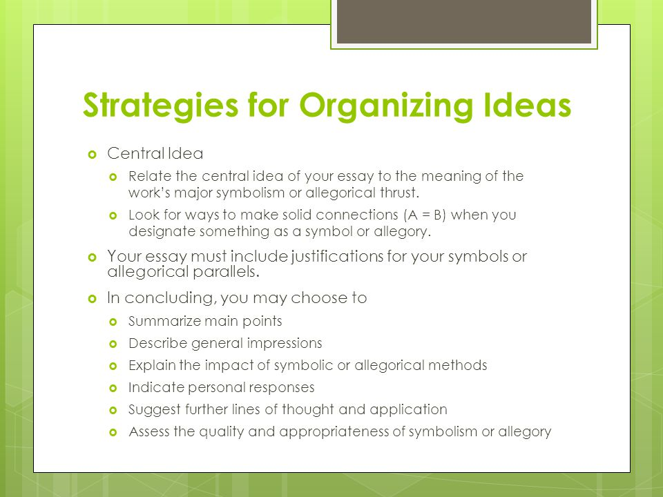 chapter symbolism and allegory ppt video online  20 strategies for organizing ideas