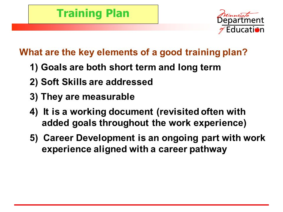 Training Plan What are the key elements of a good training plan