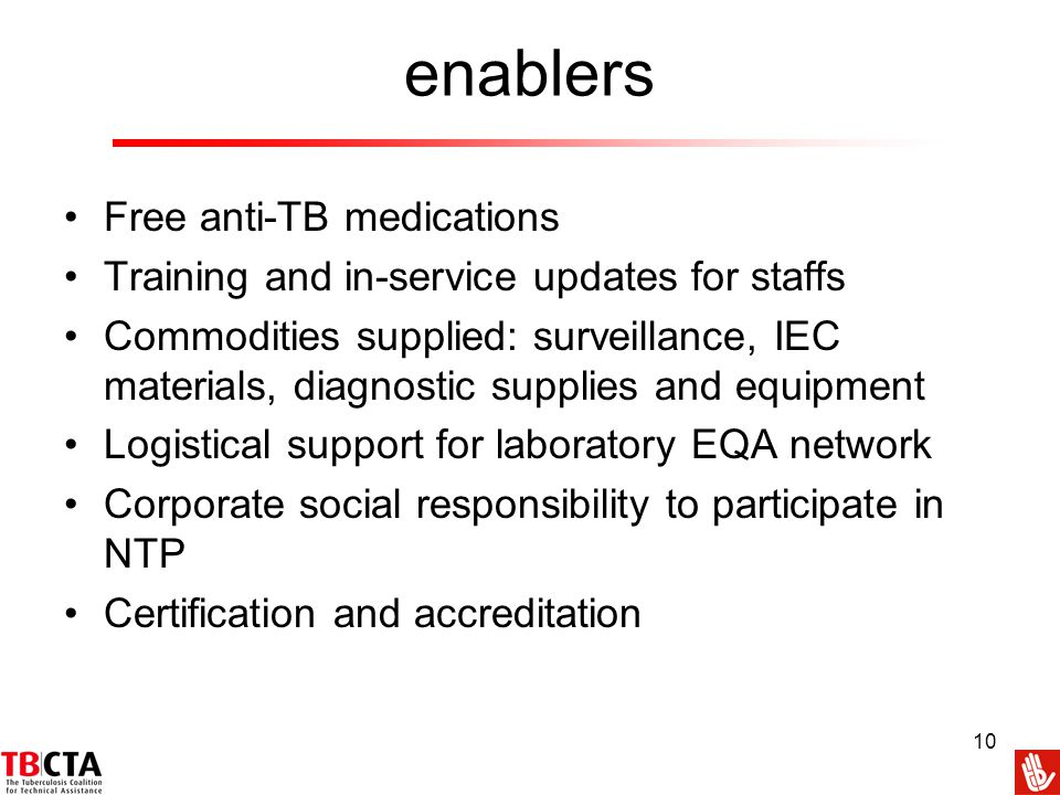 enablers Free anti-TB medications