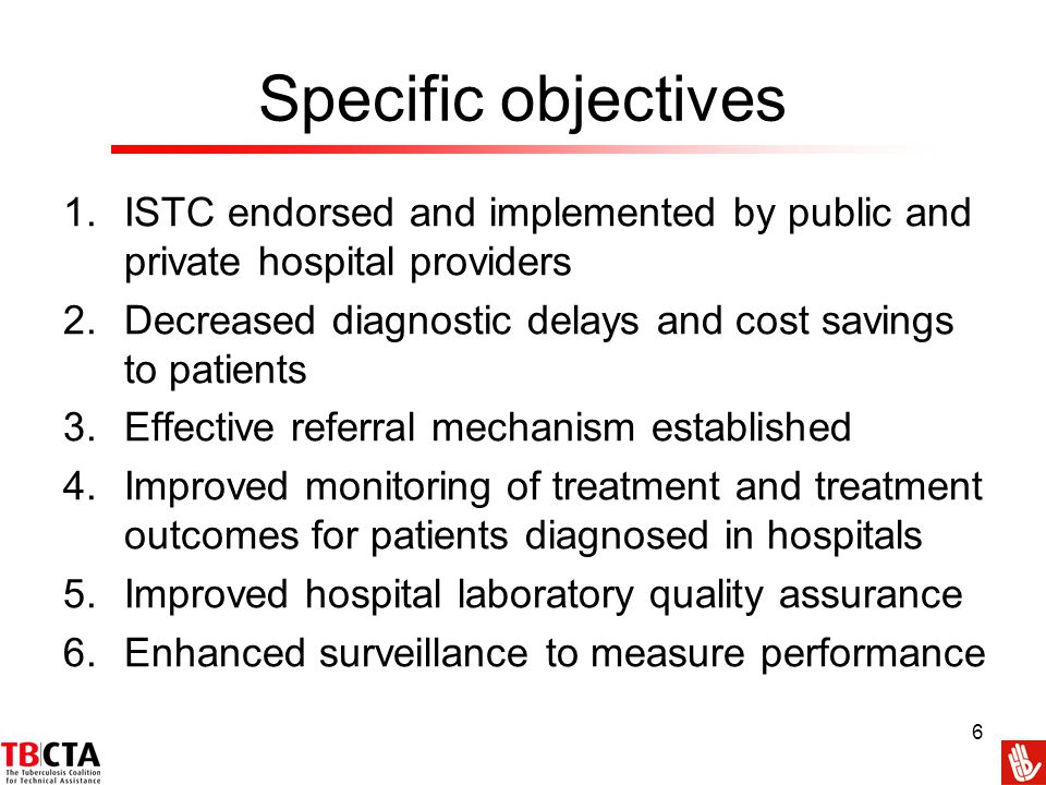Specific objectives ISTC endorsed and implemented by public and private hospital providers. Decreased diagnostic delays and cost savings to patients.