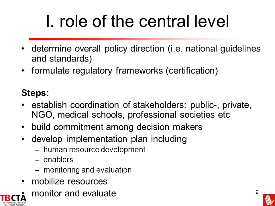I. role of the central level