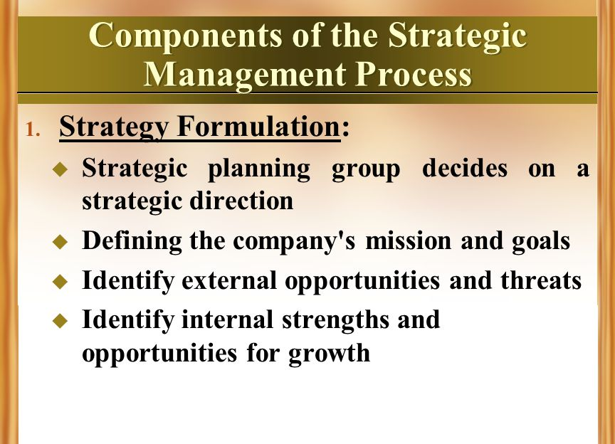 what are the major components of a strategic management process What are the major components of a strategic management process strategic management process page arabic 2 running head-primary components strategic management process the importance of strategic planning jaime enriquez mgt 498 january 17, 2011 eligah king to obtain the most success out of.