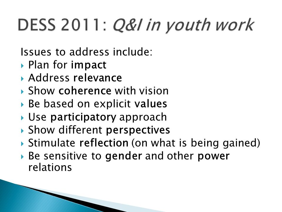 DESS 2011: Q&I in youth work Issues to address include: