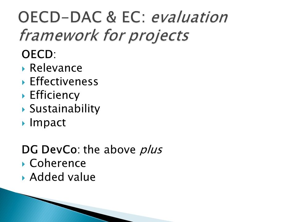 OECD-DAC & EC: evaluation framework for projects