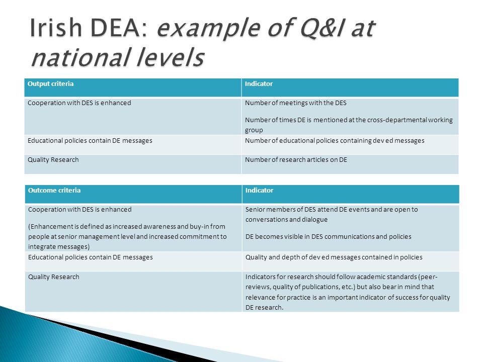 Irish DEA: example of Q&I at national levels