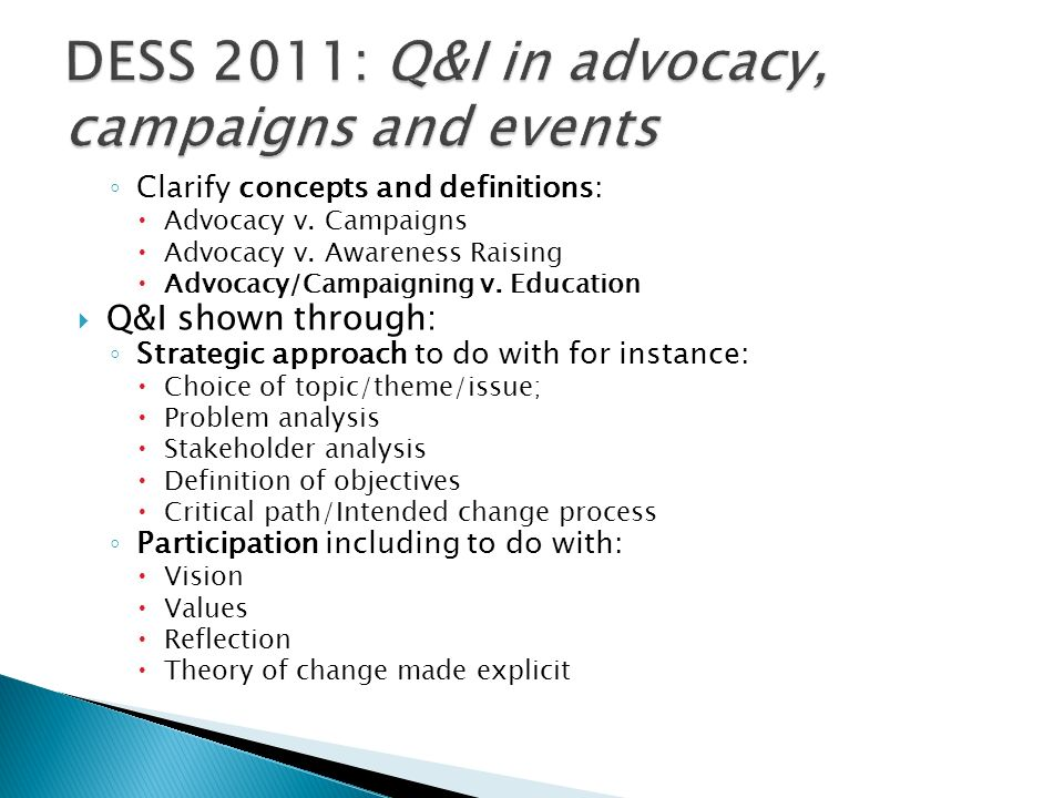 DESS 2011: Q&I in advocacy, campaigns and events